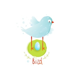 Mother bird in nest and egg vector