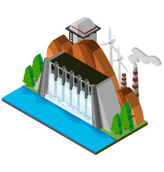 3d design for dam and river vector