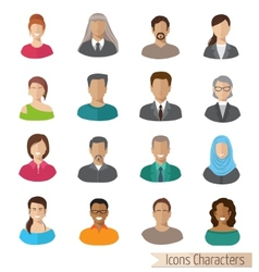 Flat characters icons set vector