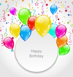 Happy birthday card with set balloons and confetti vector