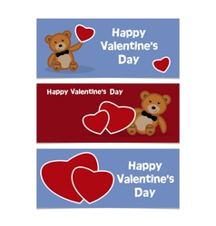 Happy valentines day bear banner vector