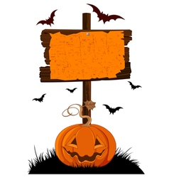 Halloween Wooden Sign vector image