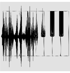 Sound wave and piano keyboard vector
