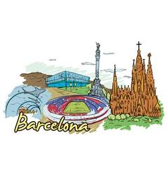 barcelona doodles vector image