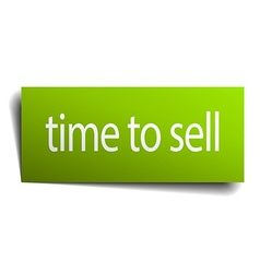 Time to sell square paper sign isolated on white vector