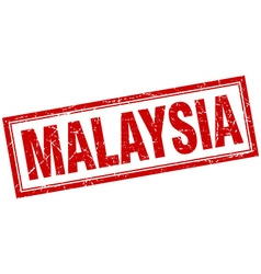 Malaysia red square grunge stamp on white vector