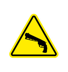 Attention crime gun in yellow triangle road sign vector