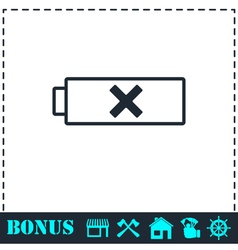 Battery icon flat vector