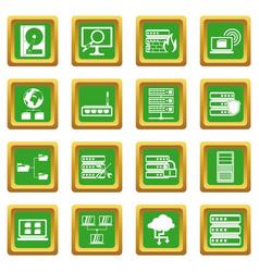 Big data icons set green vector