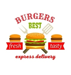 Burgers express delivery fastfood label design vector