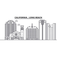 california long beach architecture line skylin vector image vector image