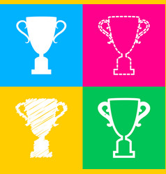 Champions cup sign four styles of icon on four vector
