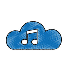 Cloud with music note isolated icon vector