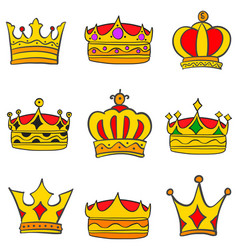 Collection stock style elegant crown set vector