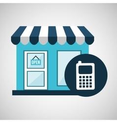 e-commerce store building cellphone design vector image