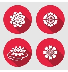 Flower icons set lily blue poppy chamomile vector