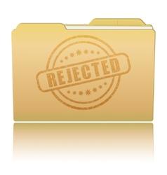 Folder with rejected damaged stamp vector