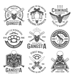 Gangster Black White Emblems vector image