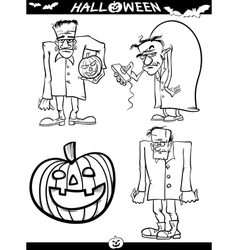 Halloween cartoon themes for coloring book vector