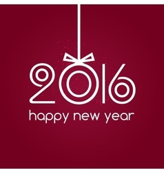 Happy new year 2016 red background typography vector image vector image