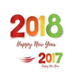 Happy new year 2017- 2018 colorful design vector