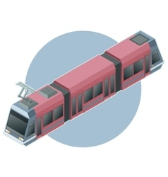 Isometric light train on circle background vector