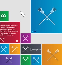Lacrosse sticks crossed icon sign buttons modern vector
