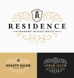 Luxurious royal logo design vector