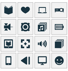 Music icons set with megaphone cellphone heart vector