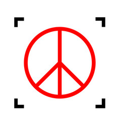 peace sign red icon inside vector image