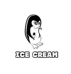 Penguin in sunglass holding ice cream vector