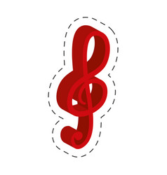 Red music note cut line vector