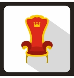 Red royal throne icon flat style vector image