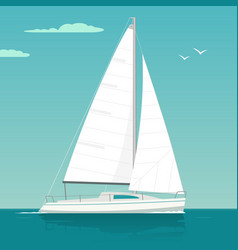 sailing yacht sailboat drawn flat vector image