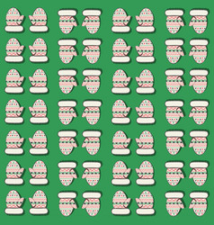 seamless pattern with mittens green vector image