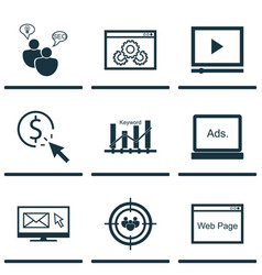 set of 9 advertising icons includes web page vector image