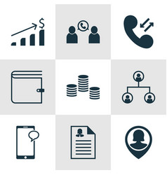Set of 9 management icons includes phone vector
