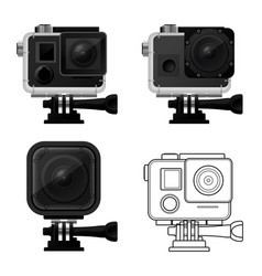 Set of action camera icons in waterproof case vector