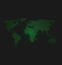 Striped world map green led light futuristic vector