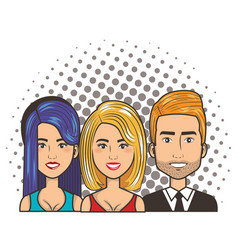 Three women and man portrait pop art comic style vector