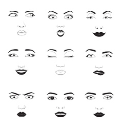Woman emotions face icons vector image vector image