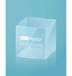 Abstract light blue background with glass cube vector image