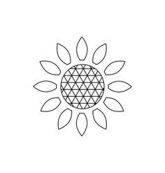 Sunflower icon outline style vector