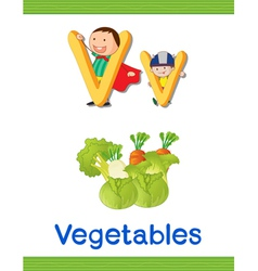 kids with letter V vector image