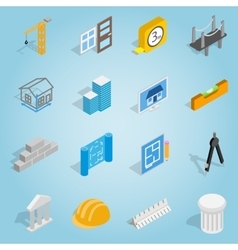Architecture set icons isometric 3d style vector
