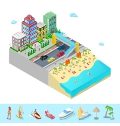 Isometric beach hotel with sea coast vector