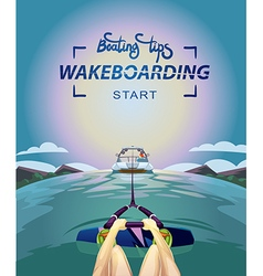 Wakeboarding start in water vector