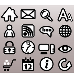 Internet n web bw icons vector