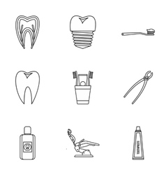 Teeth icons set outline style vector