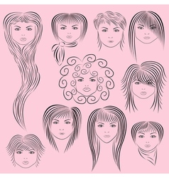 Female hairstyles vector